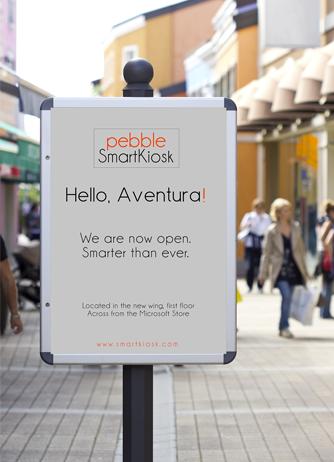 pebble smartkiosk mall sign